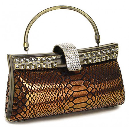 Evening Bag - Metallic Snake Skin-Like w/ Swarovski Accent Closure Knob - BG-HP03999BZ
