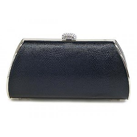 Evening Bag - Lizard Skin Like Embossed w/ Swarovski Crystal Accent Closure - Black - BG-HPZ655B
