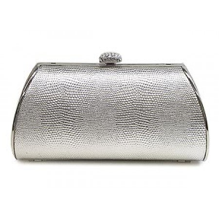 Evening Bag - Lizard Skin Like Embossed w/ Swarovski Crystal Accent Closure - Silver - BG-HPZ655S