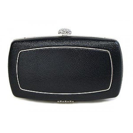 Evening Bag - Lizard Skin Like Embossed w/ Swarovski Crystal Accent Closure - Black - BG-HPZ656B