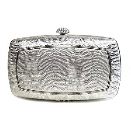 Evening Bag - Lizard Skin Like Embossed w/ Swarovski Crystal Accent Closure - Silver - BG-HPZ656S