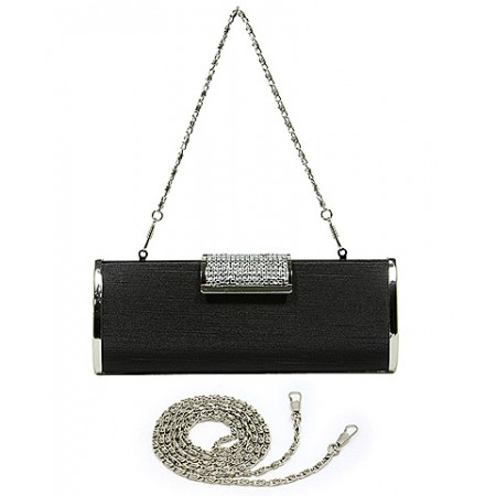 Evening Bag - Hard Case w/ Rhinestone Accent Flap Closure - Black - BG-M1023SL-BK