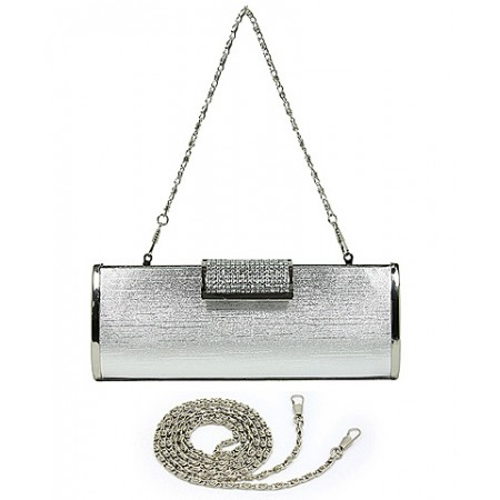 Evening Bag - Hard Case w/ Rhinestone Accent Flap Closure - Silver - BG-M1023SL-SV
