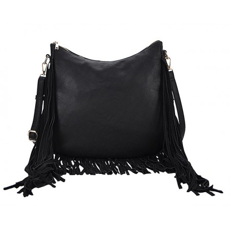 Hobo Bag w/ Genuine Leather Fringes - Black