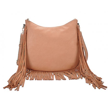 Hobo Bag w/ Genuine Leather Fringes - Brass