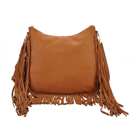 Hobo Bag w/ Genuine Leather Fringes - Tan