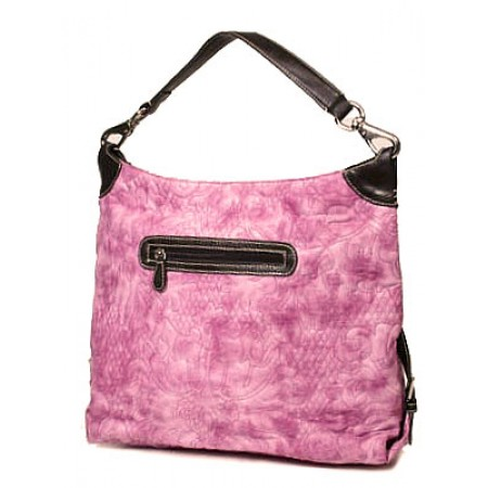 Floral Quilted Leather Like Hobo - Pink