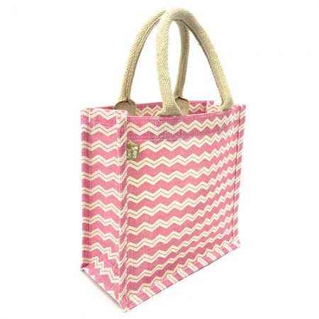 "Jute Tote: 10"" Chevron Print w/ Cotton Webbed Tube Handles"