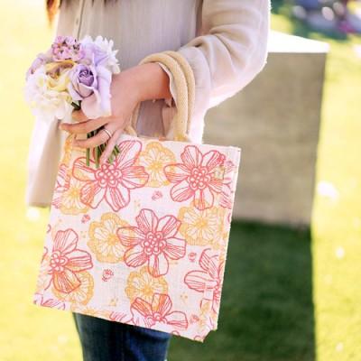 "Jute Tote: 10"" Floral Print w/ Cotton Webbed Tube Handles"