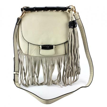 Messenger Bag w/ Genuine Leather Fringes - Bone