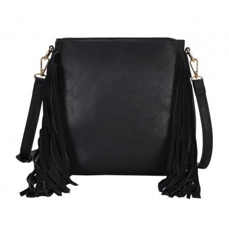 Messenger Bag w/ Genuine Leather Fringes - Black