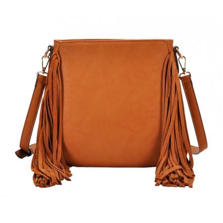 Messenger Bag w/ Genuine Leather Fringes - Tan