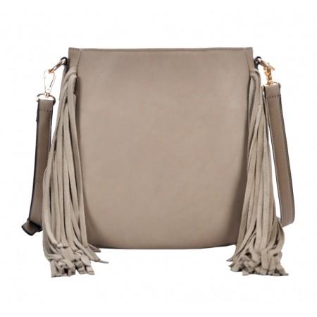Messenger Bag w/ Genuine Leather Fringes - Taupe