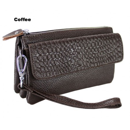 Clutch-Genuine Leather - Multi Compartments w/ Detachable Wristlet & Strap - Coffee Color - BG-YM608COF