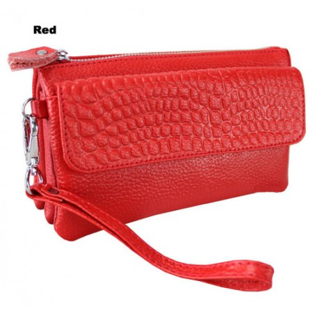 Clutch-Genuine Leather - Multi Compartments w/ Detachable Wristlet & Strap - Red Color - BG-YM608RD