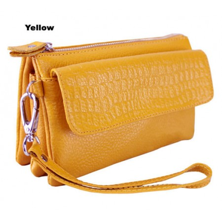 Clutch-Genuine Leather - Multi Compartments w/ Detachable Wristlet & Strap - Yellow Color - BG-YM608YL
