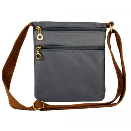 Nylon Messenger Bag -  Gray