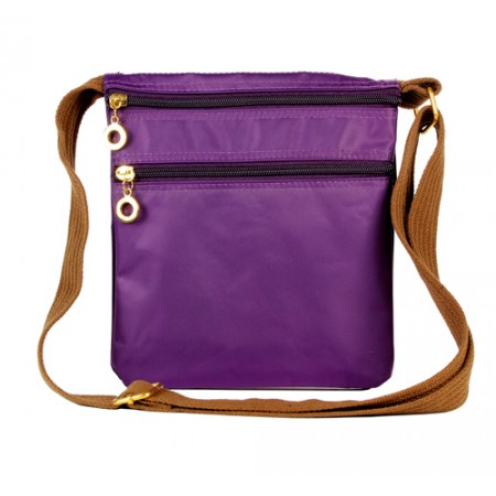 Nylon Messenger Bag - Purple