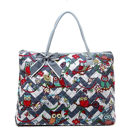 Quilted Cotton Shopping Tote Bag - Owl & Chevron Printed - Grey