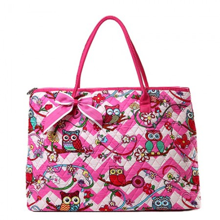 Quilted Cotton Shopping Tote Bag - Owl & Chevron Printed - Pink