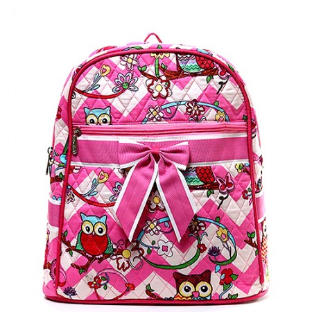 Quilted Cotton Backpack - Owl & Chevron Printed - Pink