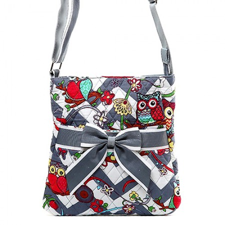 Quilted Cotton Messenger Bag - Owl & Chevron Printed - Grey