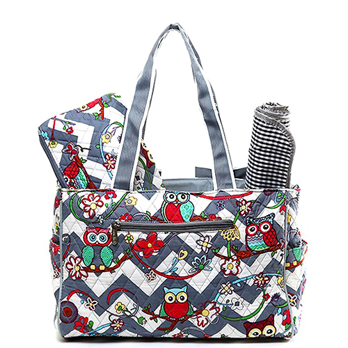 Quilted Cotton Diaper Bag Owl Chevron Printed Grey