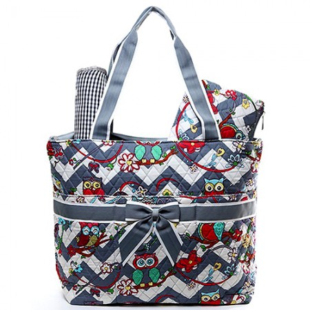 Quilted Cotton Diaper Bag - Owl & Chevron Printed - Grey