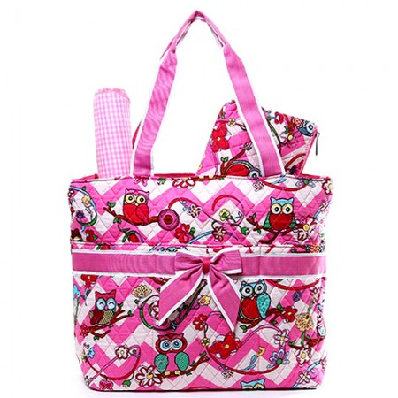 Quilted Cotton Diaper Bag - Owl & Chevron Printed - Pink