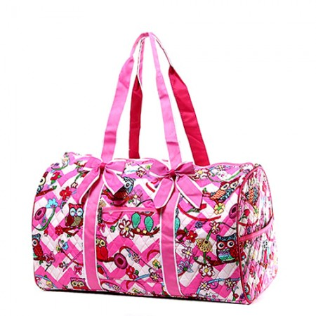 Quilted Cotton Duffel Bags - Owl & Chevron Printed - Pink