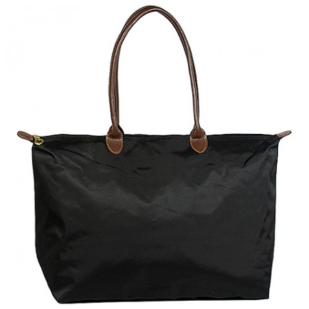 Nylon Large Shopping Tote w/ Leather Like Handles - Black -BG-HD1293BK