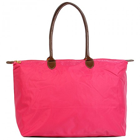 Nylon Large Shopping Tote w/ Leather Like Handles - Fuchsia - BG-HD1293FU