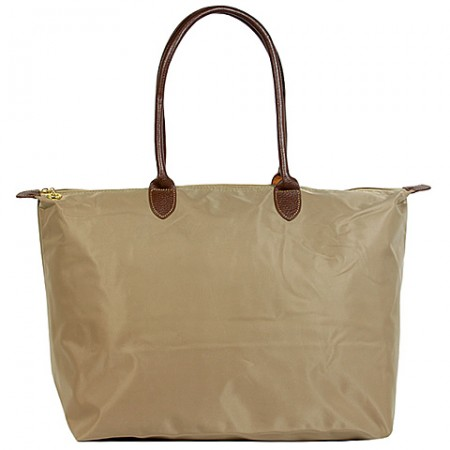 Nylon Large Shopping Tote w/ Leather Like Handles - Taupe -BG-HD1293TP