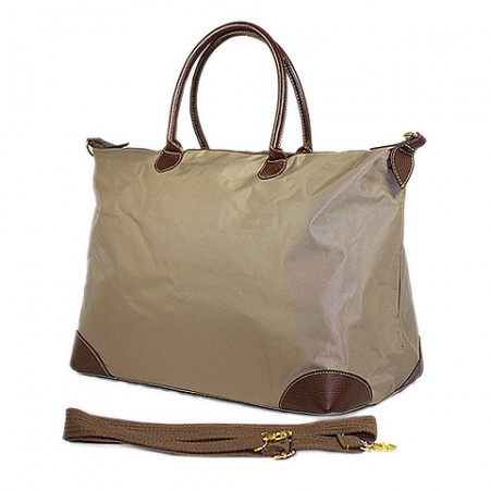 Nylon Large Shopping Tote w/ Nylon Shoulder Strap - Taupe