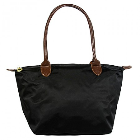 Nylon Small Shopping Tote w/ Leather Like Handles - Black