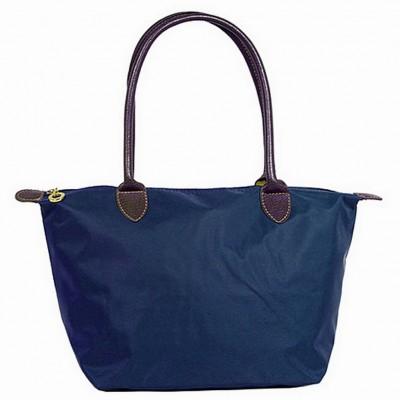 Nylon Small Shopping Tote w/ Leather Like Handles - Navy - BG-HD1361NV