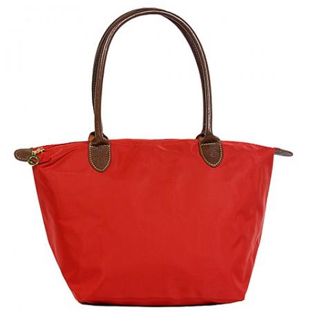 Nylon Small Shopping Tote w/ Leather Like Handles - Red -BG - HD1361RD