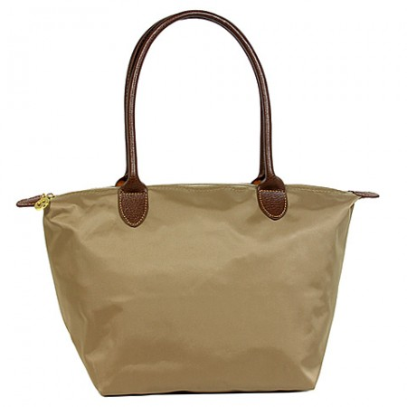 Nylon Small Shopping Tote w/ Leather Like Handles - Taupe - BG-HD1361TP