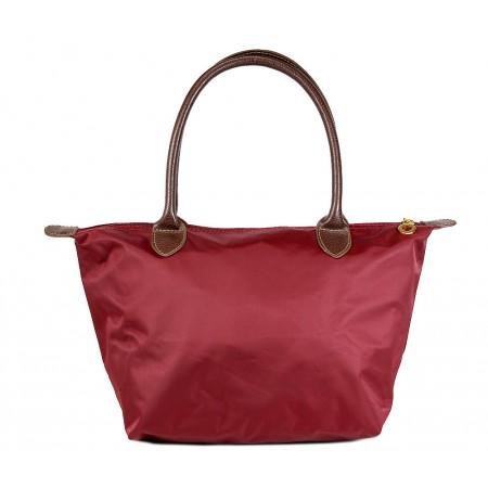 Nylon Small Shopping Tote w/ Leather Like Handles - Wine - BG-HD1361WI