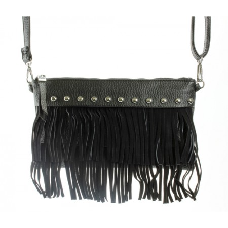 Shoulder/ Clutch Bags - Accent w/ Metal Studs & Fringes - Black
