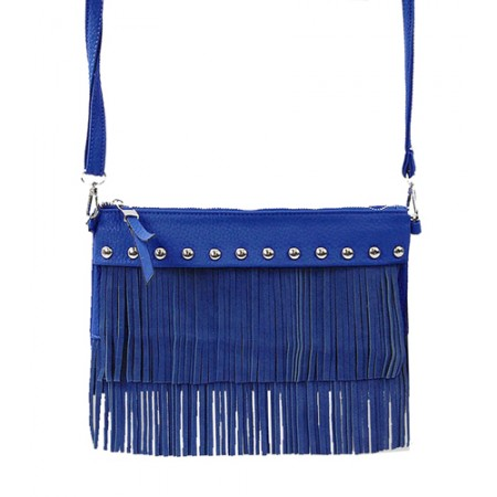 Shoulder/ Clutch Bags - Accent w/ Metal Studs & Fringes - Blue