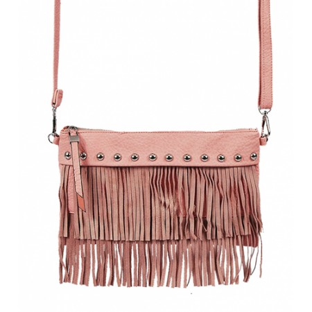 Shoulder/ Clutch Bags - Accent w/ Metal Studs & Fringes - Pink
