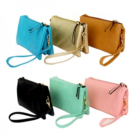 Messenger Bag/ Organizer – Soft Leather-like w/ Detachable Wristlet and Shoulder Strap