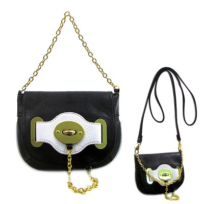 Pebble Leather-like Small Flap Purse w/ Metal Chain Strap And Twist Lock - Black