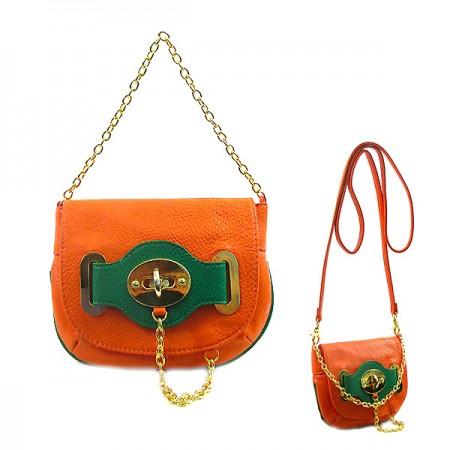 Pebble Leather-like Small Flap Purse w/ Metal Chain Strap And Twist Lock - Orange