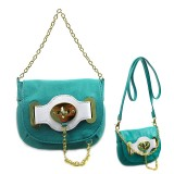 Pebble Leather-like Small Flap Purse w/ Metal Chain Strap And Twist Lock - Turquoise