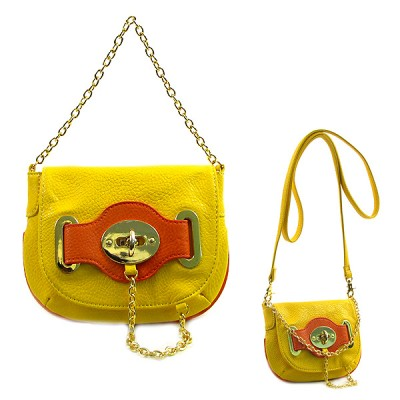 Pebble Leather-like Small Flap Purse w/ Metal Chain Strap And Twist Lock - Yellow