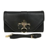 Pebble Leather-like Shoulder Bag Accent w/ Door Latch Flap - Black