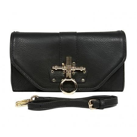 Pebble Leather-like Shoulder Bag Accent w/ Door Latch Flap - Black