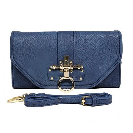 Pebble Leather-like Shoulder Bag Accent w/ Door Latch Flap - Navy